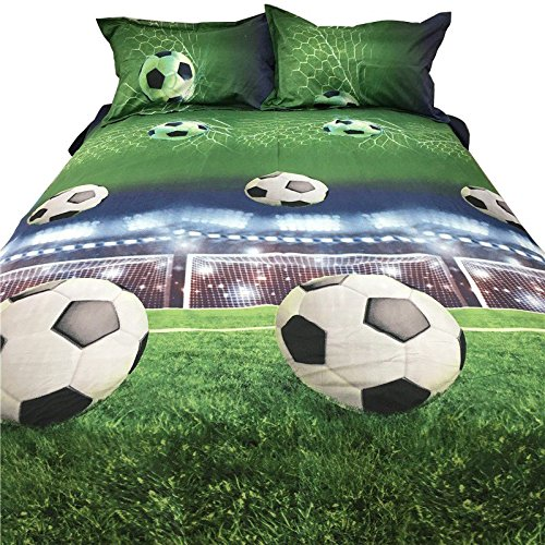 SODIAL Football Bed Sheets 3D Bedding Sets Quilt Duvet Cover Bed in A Leaf Of Bag Spread BedsPread Bedset Pillowcase Queen Size Double