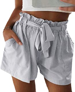 Hokny TD Women's Relaxed Fit Short Leisure Pant Elastic Waist High Rise Shorts
