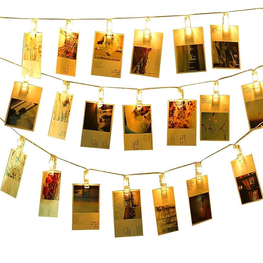 評価可能ポケット復活Yosoo LEDストリングライト 40写真クリップ 壁飾りイルミネーションライト 防水ライト DIY吊り下げる飾り 5.2m 電池式 8点灯モード リモコン付き 雰囲気作り クリスマス 新年 結婚式 誕生日 パーティー飾り