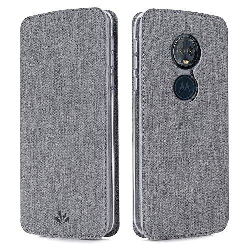 Eastcoo Handyhülle für Motorola Moto G6 Play Hülle PU Leder Flip Hülle Tasche Cover Schutzhülle mit [Standfunktion][Magnetic Closure][Wallet] für Motorola Moto g6 Play Smartphone (Gray)