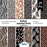 Safari Animal Print Scrapbook Paper: Pattern Paper Double Sided 8.5x8.5 Decorative Paper for Card Making, Origami, Art Craft Projects and Scrapbook Journal 24 Designer Paper Sheets