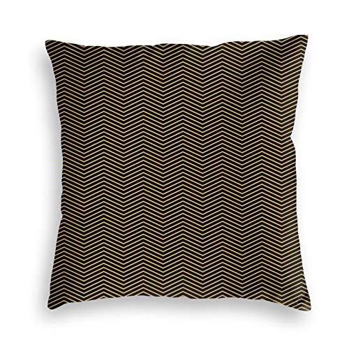 Art Deco Chevron - Fundas de cojín de terciopelo negro y dorado con cierre invisible de 45,7 x 45,7 cm