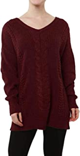 Alaile Wool Sweater Women's Knitted Pullover Loose Oversized Tops V-Neck Long Sleeve Cashmere Dresses Winter