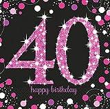 """Amscan 9900603 Tovaglioli di compleanno con scritta """"40 Happy Birthday"""", 33 cm"""