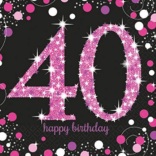 amscan 10022249 9900603 16 Servietten 40.Geburtstag Sparkling Celebration, Schwarz/Pink