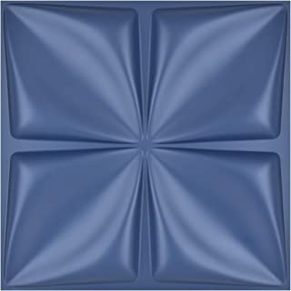 Art3d Navy Blue 3D Wall Panel PVC Flower Design Cover 32 Sqft, for Interior Wall Décor in Living Room,Bedroom,Lobby,Office,Shopping Mall
