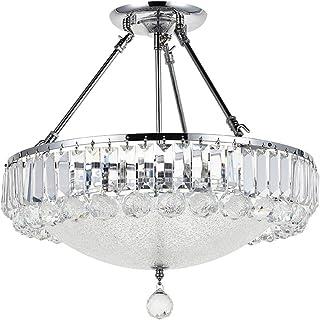 Araña de cristal moderna A1A9, luces de techo transparentes con gotas de cristal K9, lámpara colgante de cristal LED para comedor, sala de estar, vestíbulo, escalera, salón, tamaño: D46cm H45cm