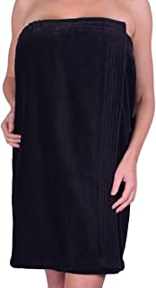 anatolian Womens Body Wrap Towel - 100% Cotton Adjustable Bath Cover Up - Made in Turkey (Black, 1)