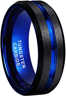iTungsten 8mm Black Blue Brown Rose Gold Tungsten Rings for Men Women Wedding Bands Two Tone Matte Brushed Flat Beveled Ed...