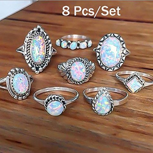 8Pcs/Set Rings Set Sterling Silver Natural Gemstone Fire Opal Diamond Ring Weddi Jewelry & Watches Rings