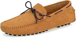 HUANGAIHUA Men's Driving Penny Loafers Suede Genuine Leather Boat Moccasins Rubber Studs Sole