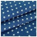 青い星のデニムプリント生地 コスチュームデザイナー生地 綿100%ウォッシュドデニム 伸縮性のない薄手 シャツ ジャケット パンツ用 マルチサイズ マルチカラー(Size:1.5M*3M,Color:ミッドブルースター)