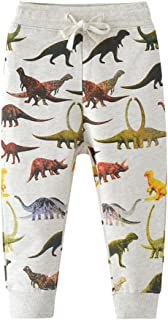 HUAER& Boys Cartoon Print Dinosaur Monkey Pattern Cotton Pants Drawstring Elastic Sweatpants