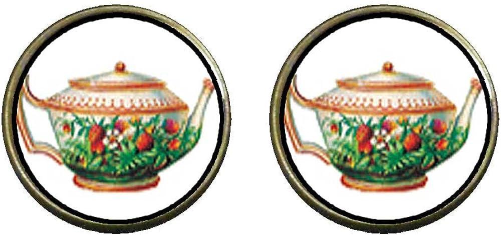 GiftJewelryShop Bronze Retro Style Flower Teapot Photo Clip On Earrings 14mm Diameter
