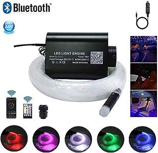 Car Use 16W LED Fiber Optic Star Ceiling Kit RGBW Light, APP Controlled 28 Keys Remote Sound Sensor Musical Lighting 0.03in/0.75mm 0.04in/1mm 0.06in/1.5mm 9.8ft/3m Long 430PCS