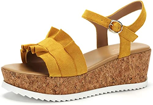 Sandales d'été Femme Mot avec Un Muffin avec avec avec des Talons Hauts Sandales Occasionnelles Femme Sandales de randonnée Sandales compensées (Couleur   jaune, Taille   37 US6.5) db1