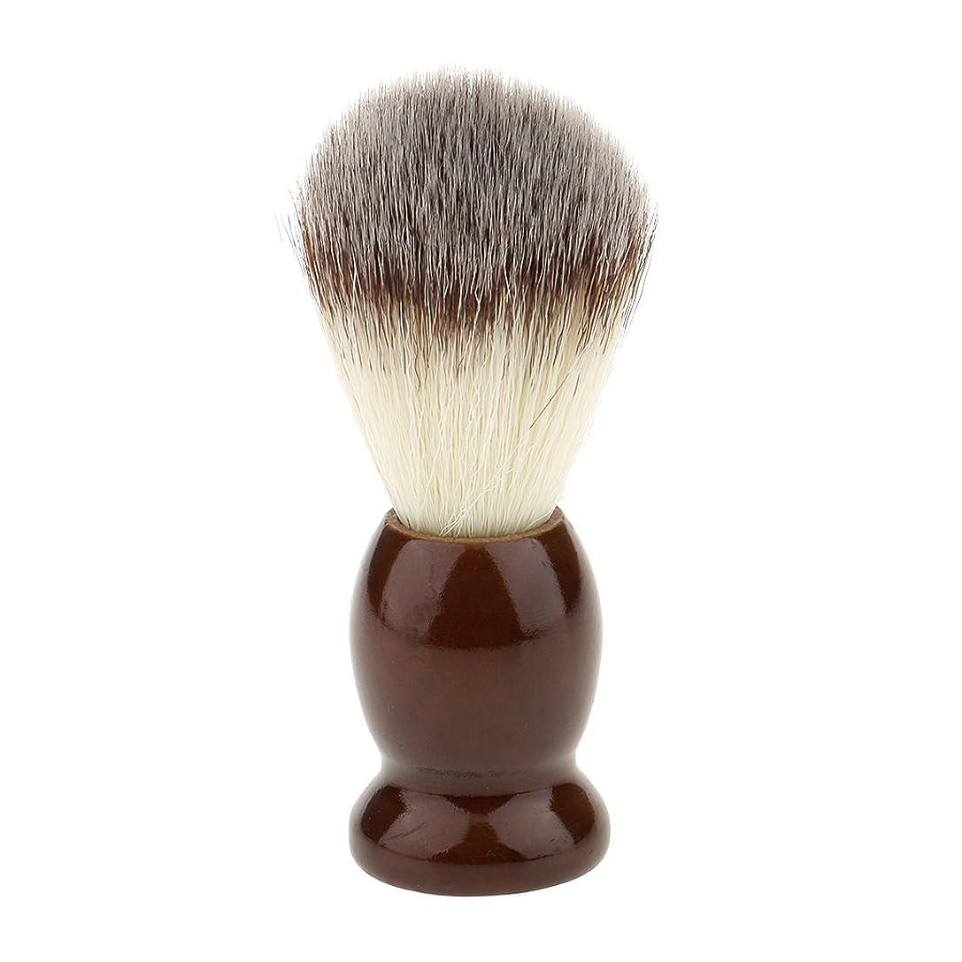 キッチン献身消化ナイロン製 シェービングブラシ 柔らかい 理容 洗顔 髭剃り 便携 10.5cm ブラウン