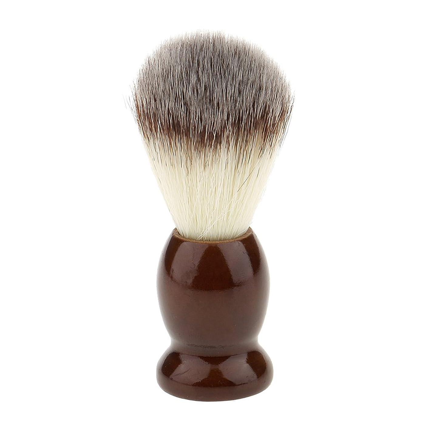 指定クレーター若いKesoto ナイロン製 シェービングブラシ 柔らかい 理容  洗顔  髭剃り 便携 10.5cm  ブラウン