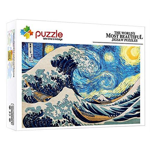 ZTCLXJ Niños Rompecabezas Pintura Famosa del Cielo Estrellado De Van Gogh Hokusai En Kanagawa 1000 Piezas Puzzles para Adultos para Adultos Y Niños Juguete Educativo 30 X 20 Pulgada