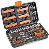 VonHaus 130pc Socket + Bit Set Including 72-Teeth Ratchet Handle - Useful for Everyday DIY, Bike Repairs, Light Duty car Repairs & Screw Driving