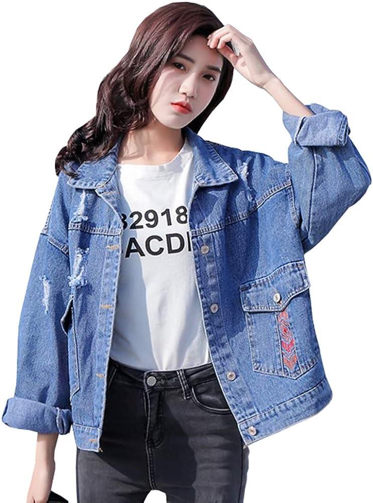 Wildestdream Women's Lapel Long Sleeve Distressed Denim Jacket Printed Jean Coat