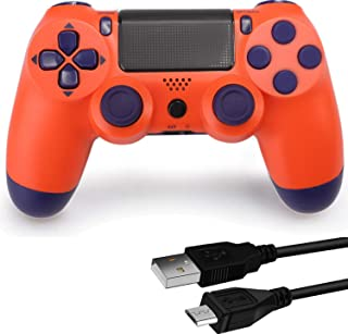 Game Controller for PS4,Wireless Controller for Play Station 4 with Dual Vibration Game Joystick(Orange, NOT-OEM)