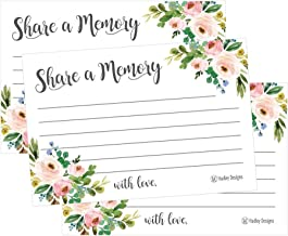 25 Floral Funeral/Birthday Share a Memory Card Keepsake, Condolence Sympathy Memorial Acknowledgment, Remembrance Appreciation Celebration of Life Service Supplies Guest Book Alternative Advice Game