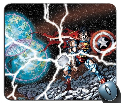 Custom Superman Captain America Thor DC Marvel Smash Up Mouse Pad g4215
