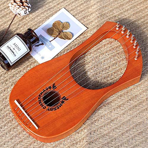 WHR-HARP Harfe, 7-Saitige Harfe Mit StimmschlüSsel und Ersatzsaiten, Tragbare Afrikanische Holzharfe, Professionelles Geschenk für Kinder und Erwachsene Anfänger, 33 * 17 * 3,5 cm,Woodcolor