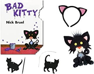 Bad Kitty by Nick Bruel Childrens Book , Bad Kitty Kitten Plush Toy , Black Cat Ears and Kittie Backpack Pull or Ornament Craft Gift Set with Surprise Activity Pages