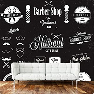 xbwy Modern 3D Wallpaper, Barber Shop Label and Icon Mural for The Barber Shop Sofa Living Room Wall Vinyl -400X280Cm