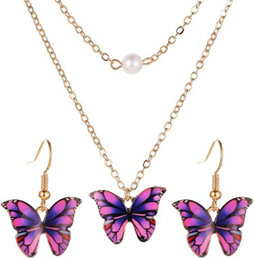 Flzaitian Adjustable Butterfly Chain Necklace Earrings Set Jewelry for Women Colorful Butterfly Pearl Necklace Earrings Jewelry Set