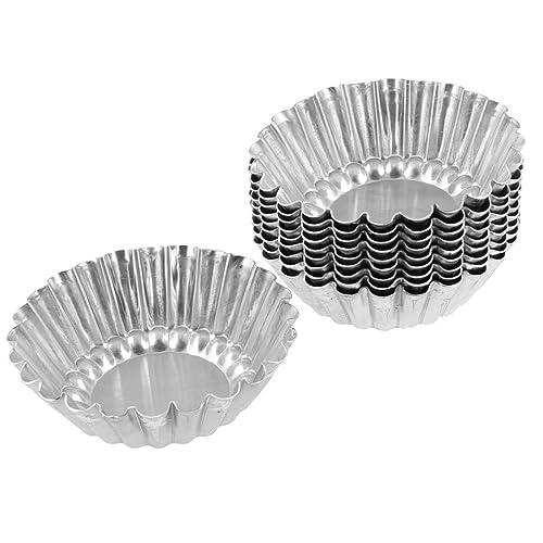 uxcell Aluminum Egg Tart Mold Mould Makers 10 Pcs Silver Tone