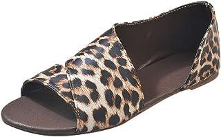 Women Peep Toe Side Cutout Flat Sandals Faux Leather Slip On PU Shoes Summer Fashion Asymmetrical Loafer by RJDJ