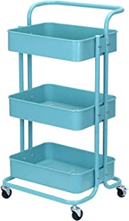 JANE EYRE 3-Tier Metal Rolling Storage Cart with Handle, Heavy Duty Utility Cart on Wheels for Bathroom, Kitchen, Office. Easy Assembly Storage Trolley Service Cart with Mesh Baskets - Turquoise