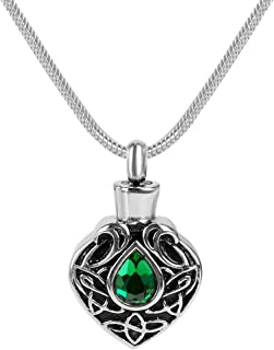 GIONO Cremation Jewelry Green Crystal Celtic Knot Urn Pendant Memorial Ash Keepsake Stainless Steel