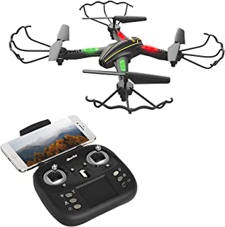 iBaseToy WiFi FPV RC Quadcopter Drone with Wide-Angle HD Camera Live Video RTF 4 Channel 2.4GHz 6-Gyro with Altitude Hold Function,Headless Mode and One Key Return Home for Kids and Adults