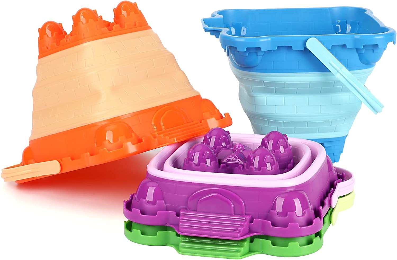 Nippon regular agency Tinleon Foldable Sand Buckets Over item handling Plastic Beach Pail Col Mold Castle