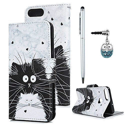 Huawei P Smart Hülle Case Tasche Schwarz Weiß Katze Muster Kunstleder Brieftasche Wallet Schale Lederhülle Schutzhülle Handyhülle für Huawei P Smart Stand Kartenfach Magnetverschluss Bookstyle Holster