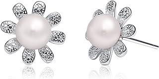 Gemshadow donne 925sterling Silver Flower 6–7mm orecchini di perle d' acqua dolce