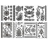 NOVAGO 8 hojas de Tatuajes Temporales 21x15 cm varios patrones , Negro (4)