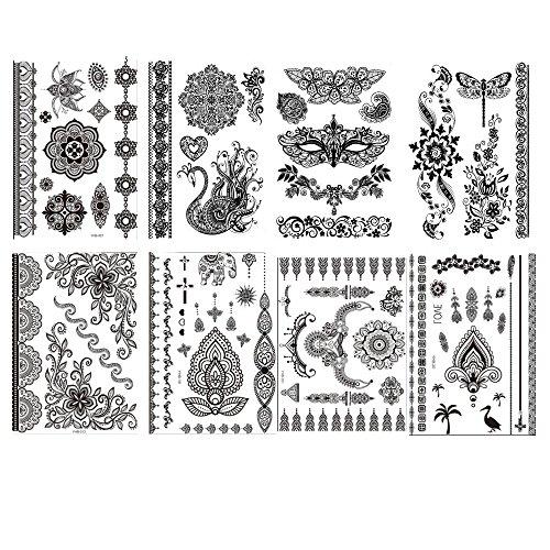 Tatuajes temporales color negro (8 hojas, varios patrones)