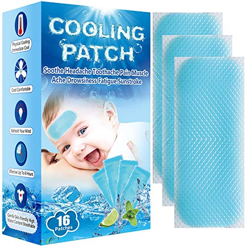 Baby Cool Pads for Kids Fever Discomfort & Pain Relief, Cooling Relief Fever Reducer, Soothe Headache Pain, Pack of 16
