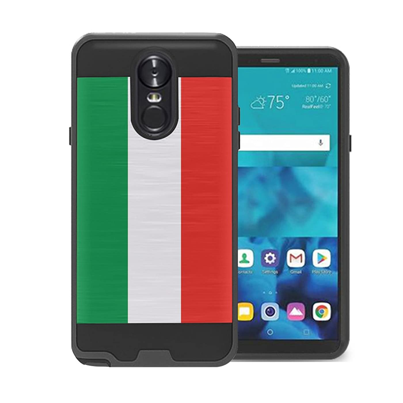 Izumi Case Compatible with LG Stylo 4 Plus, LG Stylo 4, LG Q Stylus [Hybrid Fusion Supports Wireless Charging Dual Layer Slick Armor Case Black] for LG Stylo 4 - (Italy Flag) zfvc600395965192