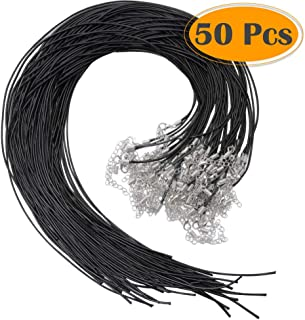Selizo 50Pcs Necklace Cord Black Waxed Cotton Cord for Necklace Making and Bracelet Making