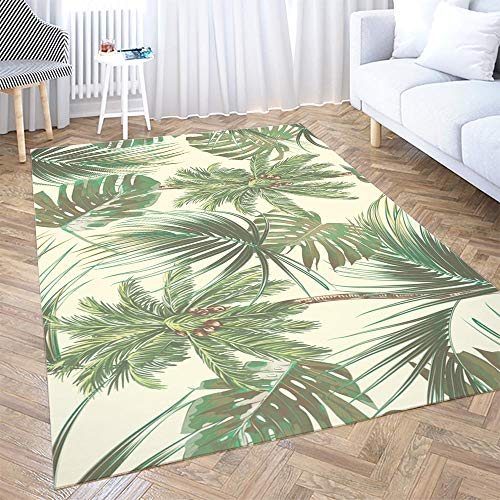 Sertiony Area Rug Decorations for The Home Cotton Area Rug 2X3 Feet Palm Trees Tropical Leaves Monstera Leaf Summer Pattern Background Botanical Blanket Furniture Decoration Living Room Bathroom