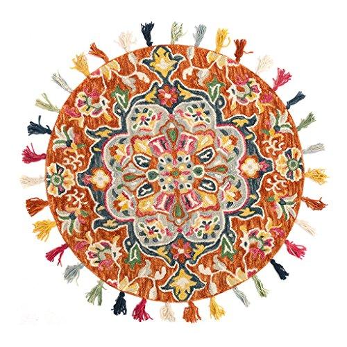 Alfombras Alfombras Tejidos a Mano Lana Espesar Alfombras Flecos Alfombras Redondas Sala de Estar Dormitorio Alfombras de Noche (Color : Orange, Size : 90CM(35.4INCH))
