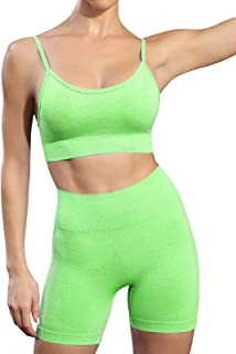Women's Shorts Sets 2 Piece Outfits for Summer Seamless High Waisted Yoga Shorts with Adjustable Sports Bra Set Gym Clothes