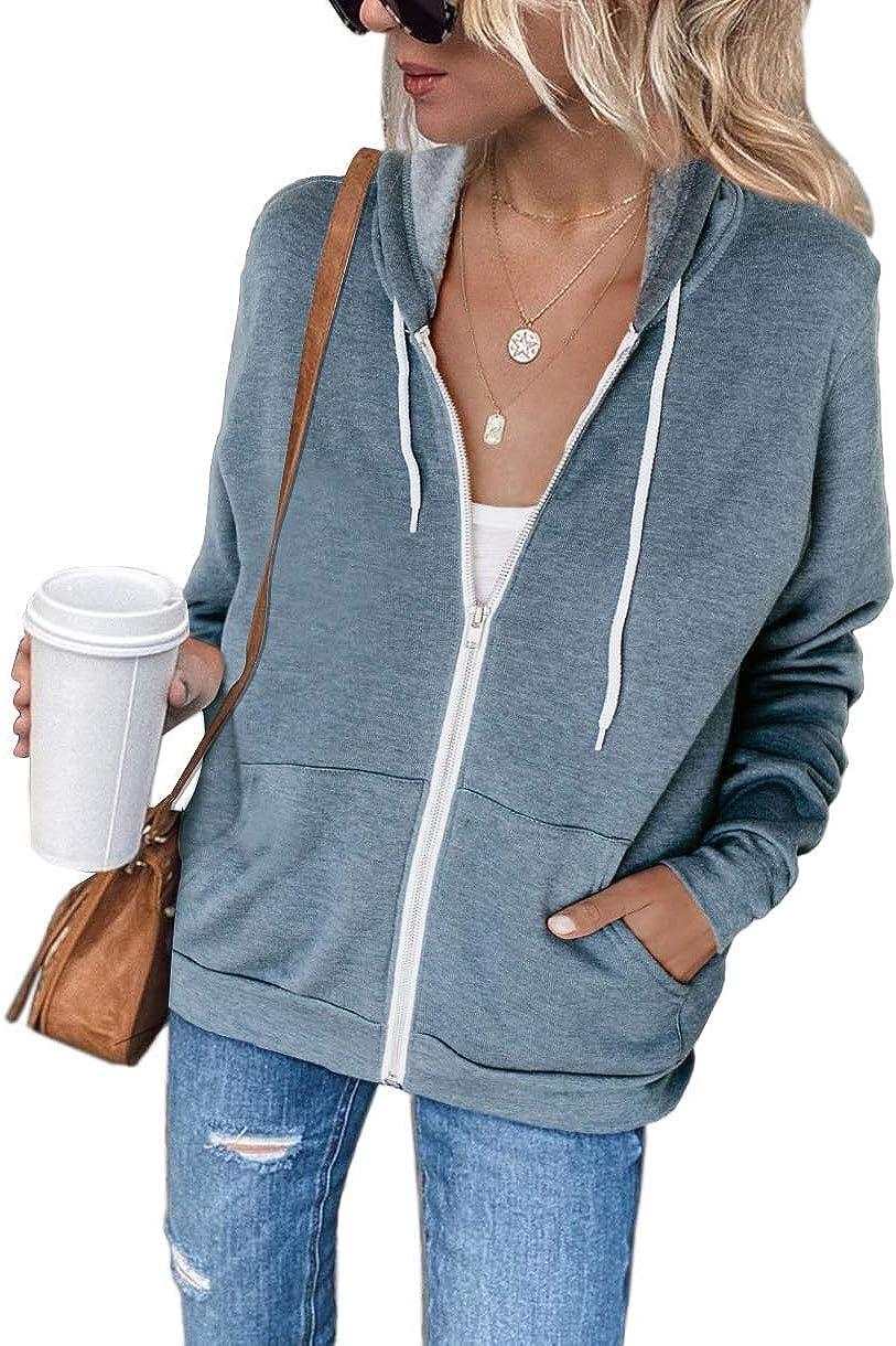 T1FE 1SFE Womens Long-Sleeve Full Zip-Up Hoodie Jacket Outerwear Casual Sweatshirt Coat with Pockets