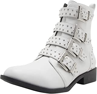 Cambridge Select Women's Four Buckled Strap Moto Studded Combat Low Chunky Block Heel Mid-Calf Closed Round Toe Boot